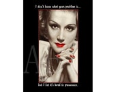 """M34-013C Funny 3"""" x 4"""" Fridge Magnet ~ Retro Lady - I don't know what your problem is... but I bet it's hard to pronounce."""