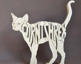 Cornish Rex Cat Feline Wooden Animal Puzzle Toy Hand Cut  with Scroll Saw