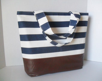 Blue Stripe Tote Diaper Bag - Diaper Bag - Stripe Bag - Laptop Bag - Extra Large Diaper Bag -  Beach Bag - Washable - Vegan Leather