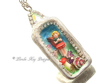 Miniature Fairy Garden Necklace Tiny Faerie Altered Tin Pendant Lorelie Kay Designs Original