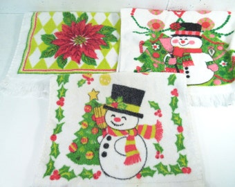 Vintage Christmas towels, set of 3 holiday kitchen towels, snowman, Santa Claus, Poinsettia, Christmas kitchen decor, terry cloth towels