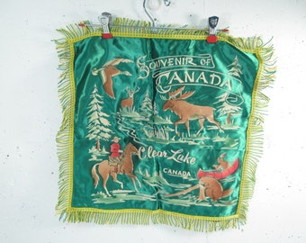 Vintage Souvenir pillow, souvenir of Canada pillowcase, Clear Lake Canada, tourist pillow