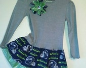 Seattle Seahawks Double ruffle dress, gray top, size 12 month, 18 month, 2T, 3T, 4, 5, 6, 7, 8  with green chevron and see hawks cotton.