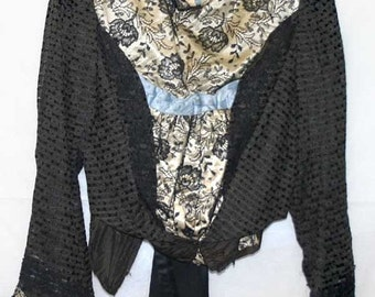 ON SALE Antique Victorian Black Lace Ladies Bodice Excellent Condition