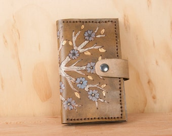 Coin Pocket Wallet - Small Womens Leather Wallet in the Winter pattern with flowering tree - gold, white, purple blue and antique brown