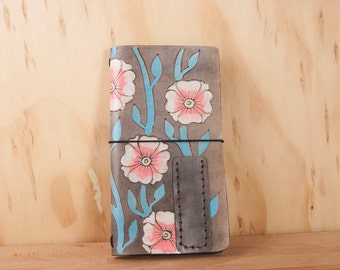 Midori Notebook - Leather Moleskine Cover in the Aurora Pattern with Flowers and Vines - Pink and Turquoise
