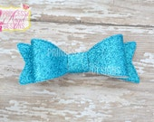 Turquoise Glitter Bow - 3D Bow - Girls Bow - Toddler Bows