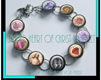 Sacred Hearts bracelet...ready to ship with gift box , Catholic jewelry,  religious jewelry, sacred heart jewelry