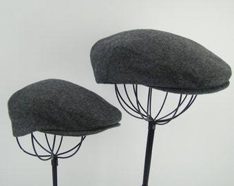 Father and Son Custom Handmade Flat Golf Caps - Driving Cap - Ivy Cap - Heather Gray Wool, aka Jeff Cap, Newsboy