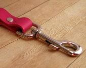 Fuchsia Clip On Key Ring, Heavy Duty Key Chain, Hot Pink Leather Keyring, Leather Key Clip,  Leather Key Fob, Key Accessory, Clip Keychain