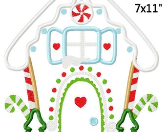Christmas Gingerbread House Machine Applique Embroidery Pattern Design 5x7 6x10 7x11 INSTANT DOWNLOAD
