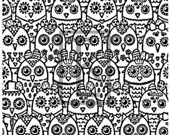 Hoot Owls  Silk Screen (N63)