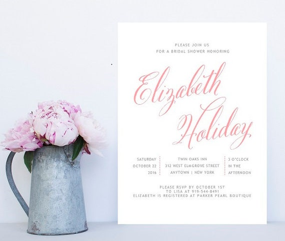 Blush Pink Bridal Shower Invitation Calligraphy Shower