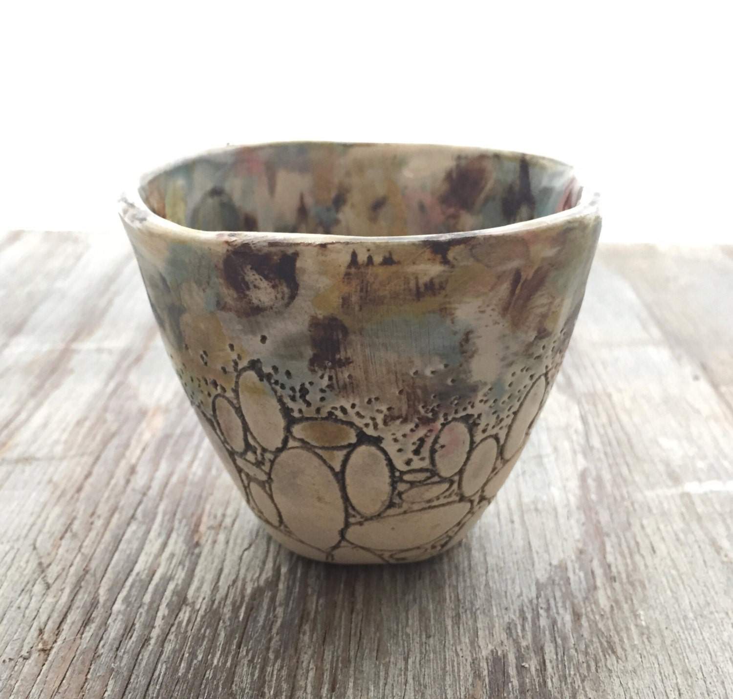 Small Pale Blue Landscape Oval Cup