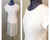 On HOLD for jessica.......Vintage 70s 80s waffle knit cream shirt ~ bohemian ~ mori girl ~ natural