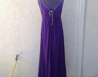 Vintage 60s deep purple long slip dress ~ lingerie ~ maxi gown ~ pin up
