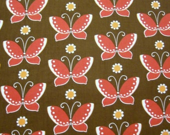 CLEARANCE .5 Yards Moda Freebird Butterflies in Brown and Red