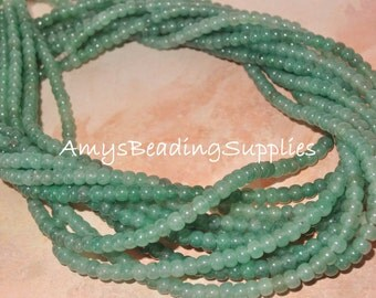 Green Aventurine 4mm Round Beads, 16-Inch Strands,  Approx 100 beads