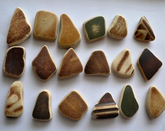 18 pieces of smooth beach pottery BPL17