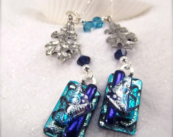 Fused dichroic glass, Dichroic Earrings, Dangle blue earrings, Fused glass jewelry, Women's handmade, Hana Sakura, Glass fusion, unique