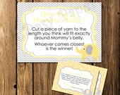 Printable Elephant Yellow Baby Shower How Big is Mommy's Belly Game - Instant Download