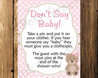 Printable Pink Teddy Bear Girl Don't Say Baby Shower Game Sign - Instant Download