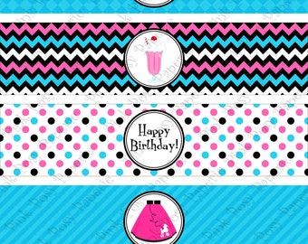 Printable 50s Sock Hop Birthday Water Bottle Wrappers - Instant Download