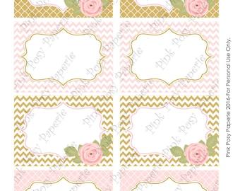 Printable Pink and Gold Bridal Shower Food Labels - Instant Download