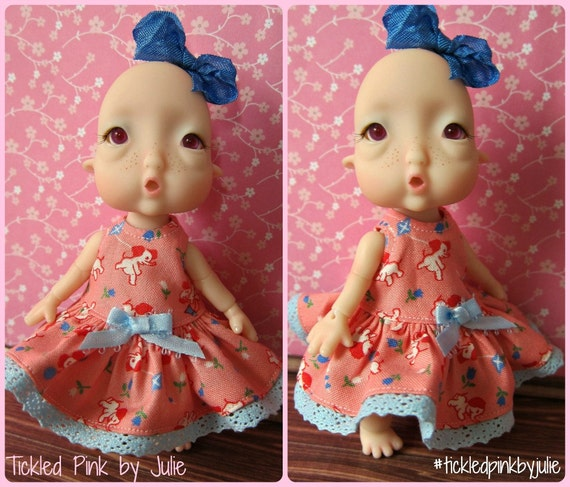 Tiny BJD Baby Humpty Elephant Toss Babydoll Dress by Tickled Pink by Julie