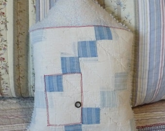 House shaped pillow, upcycled vintage quilt, blue popcorn chenille, blue patchwork, cottage chic, porch pillow, girl boy pillow, accent