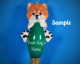 Orange / Red and White Pomeranian Dog Christmas Holidays Light Bulb Ornament Sally's Bits of Clay PERSONALIZED FREE with dog's name