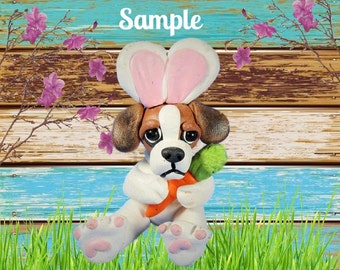 Beagle Easter Bunny with carrot Dog Sculpture OOAK Clay art by Sally's Bits of Clay
