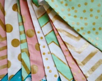 Mint, Pink, Metallic Gold Fabric Bunting Flag Banner, Garland Bunting.  Chevrons, Dots, Designer Fabrics, Wedding Decor, Kids Room, Shower