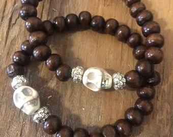 FREE Shipping Handmade Wrist Mala Skull and Lotus