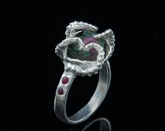 VDay SALE Octopus Ring, Tentacle Ring, Engagement Ring, OctopusME - Watermelon Tourmaline One of a Kind, Size 7.