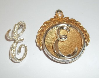 E Monogram Initial Pin,and Pendant,Brooch,Letter E ,vintage personalized Jewelry ,altered art supplies,Gold tone,Silver tone