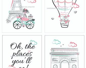 Paris Art, Paris Art Prints, Coral Paris Decor, Paris Bedroom decor, 8 x 10 Prints, Travel Art Print, Girls Paris Coral Aqua Teal Bedding