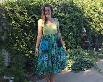 Shelby/Dress Frock-medium Upcycled clothing/Eco-friendly Artsy-handmade by CarLe Etc...