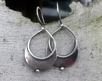 Crescent...... recycled sterling silver handmade earrings.
