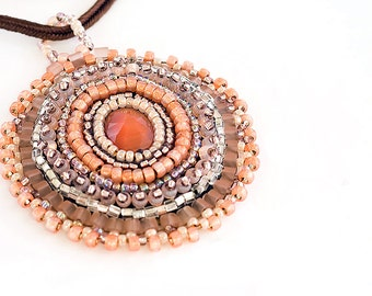 Bead Embroidered Pendent, Necklace, Seed Beads,  Beadwork, Peach, OOAK