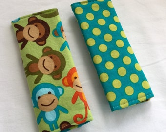 Reversible Car Seat Strap Covers - Monkeys in Bermuda - Seatbelt Covers