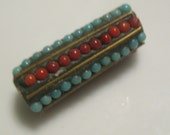 Tibetan beads-black and red and turquoise with silver Tibetan Nepal beads beading supplies loose beads-ONE BEAD