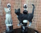 Cat lovers Wine Stoppers Tabby  Cat Tuxedo Cat Kittens gift feline Wine tasteing