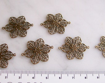 Brass Filigree Flower 2-Hole Connectors Antiqued Finish Jewelry Findings  6 Pcs.