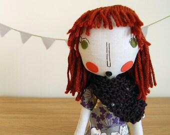 Rag Doll, Handmade Doll, Girl Doll, Fabric Doll, Cloth Doll, Custom Doll, Custom Portrait Doll, Red Hair Doll, Anniversary Gift - Dakota