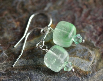 Cube Sterling silver Czech glass earrings with crystals - dangle earrings - sea foam Earrings