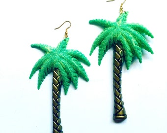Large Palm Tree Plastic Festival Tropical Earrings