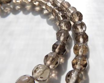 5mm Faceted Smoky Quartz Beads, Full Strand, 15 in.