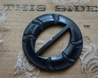 Vintage old black Bakelite composition  clothes buckle