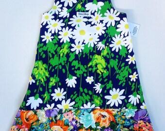 Floral Art Recycled Vintage Dress - Size 4